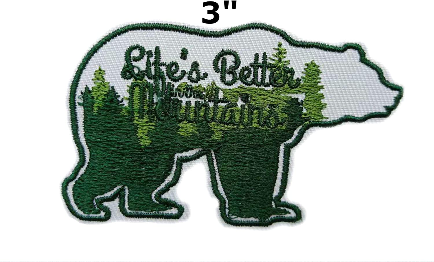 Bear Mountains Trees Embroidered Patch Iron-On or Sew-On Explore Nature Applique