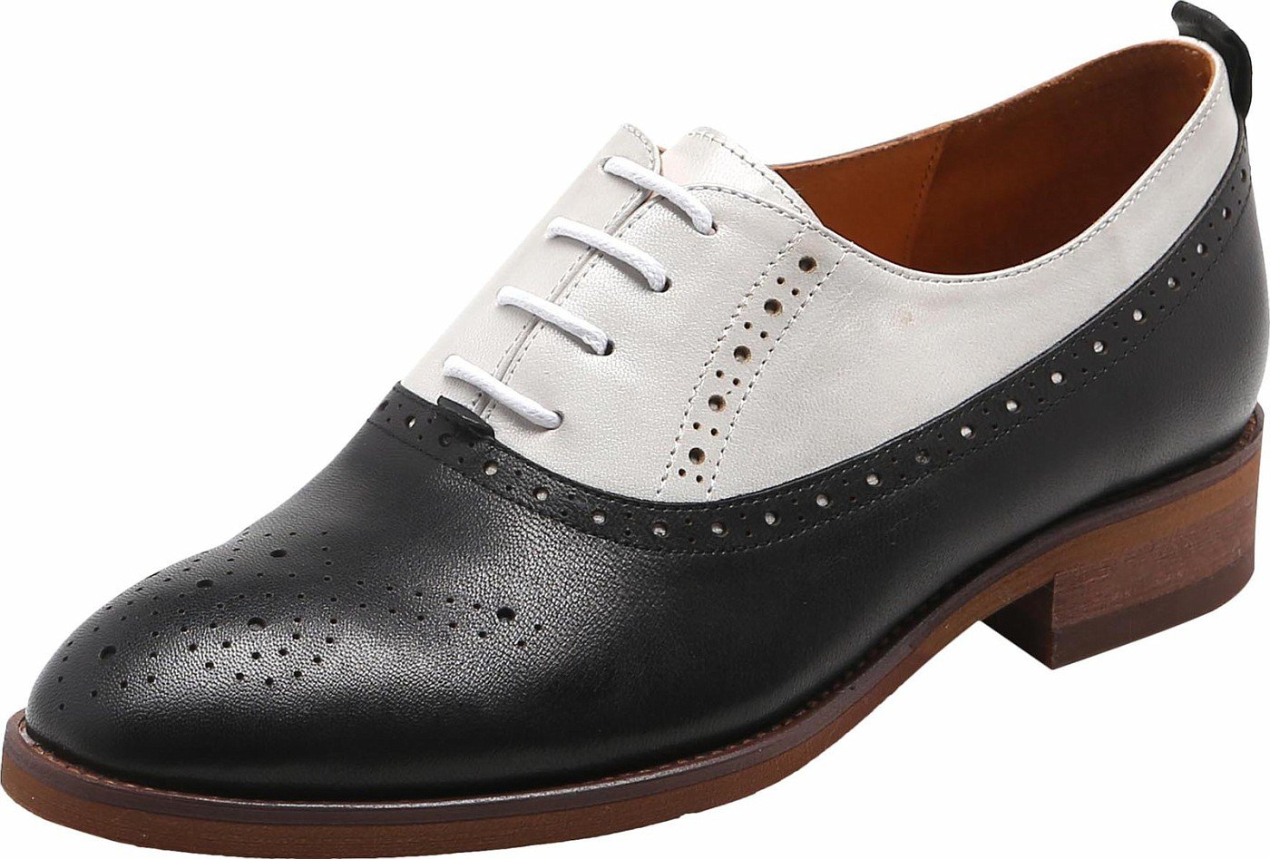 U-lite Womens Perforated Lace-up Round-Toe Brouge Shoes, Multicolor Spring Vintage Oxfords White Black9