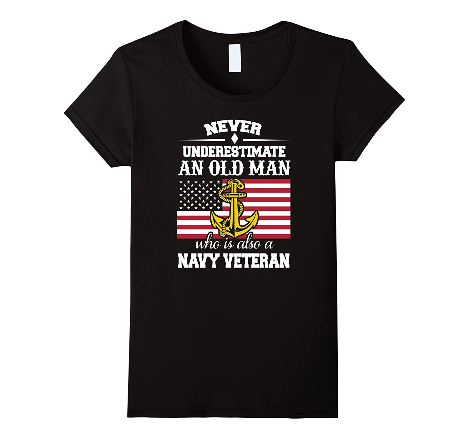 Funny Never Underestimate an Old Man Navy Veteran T-shirts