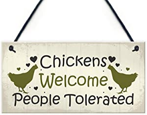 "Meijiafei Funny Chicken Sign Hanging Sign Pet Sign Chicken Accessories Garden Plaque Friend Gift 10"" X 5"""