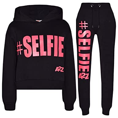 151516daf0e5 A2Z 4 Kids Girls Tracksuit Fleece Hooded Crop Top Bottom Jogging Suit - T.S Crop  Selfie