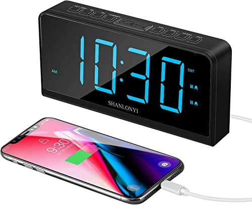 Digital Alarm Clock, 7 LED Display, Desk Shelf Clocks for Kid Senior, Easy to Use, 12 24 H, 5 Brightness, USB Charging Port, Snooze, Bedside Alarm Clock for Bedroom Kitchen Office