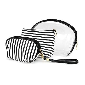 dd6b88c0ac41 Amazon.com   Make Up Bag Cosmetic Travel Case Set of 3 Black   White ...