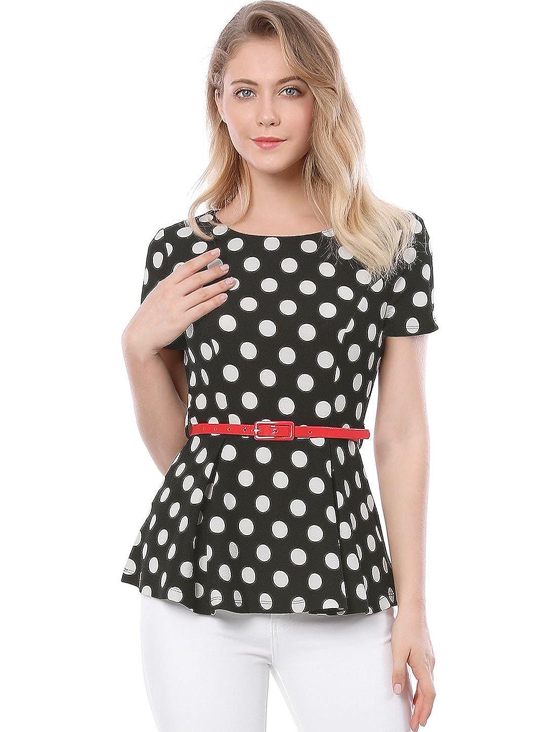 1303383c94be7 Allegra K Women s Summer Short Sleeve Polka Dot Peplum Top with Belt at  Amazon Women s Clothing store