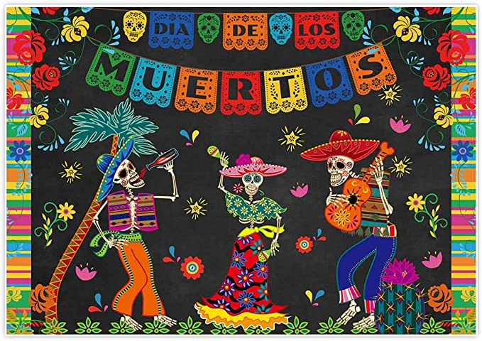OERJU 12x8ft Day of The Dead Backdrop Mexican Fiesta Skulls Cactus Dia Delos Muertos Birthday Party Photography Background Halloween Fiesta Banner Bridal Shower Decor Family Party Supplies