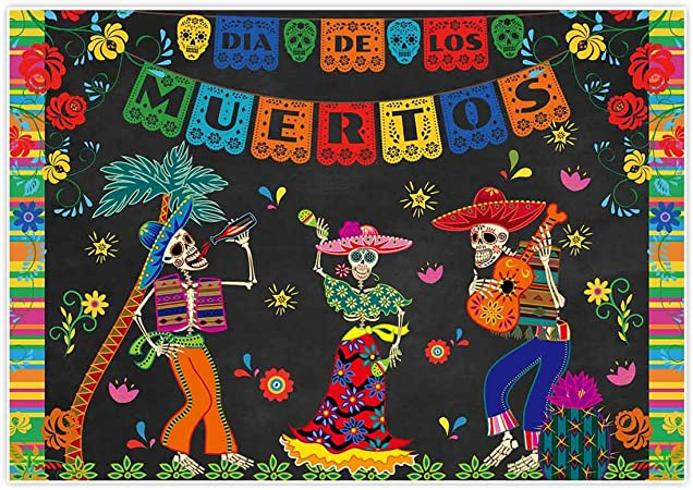 7x10 FT Vinyl Photography Background Backdrops,Girl with Sugar Skull Make Up Dia De Los Muertos Traditional Art Print Background for Graduation Prom Dance Decor Photo Booth Studio Prop Banner