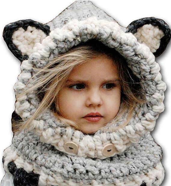 check out meet hot products SOLENZO Cagoule bonnet écharpe gris avec oreilles renard 3D ...