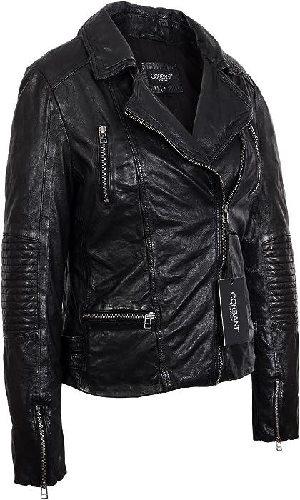 c5ebe569eec5 Corbani Womens Vintage Black Asymmetrical Bomber Lambskin Real Leather  Jacket (X-Small