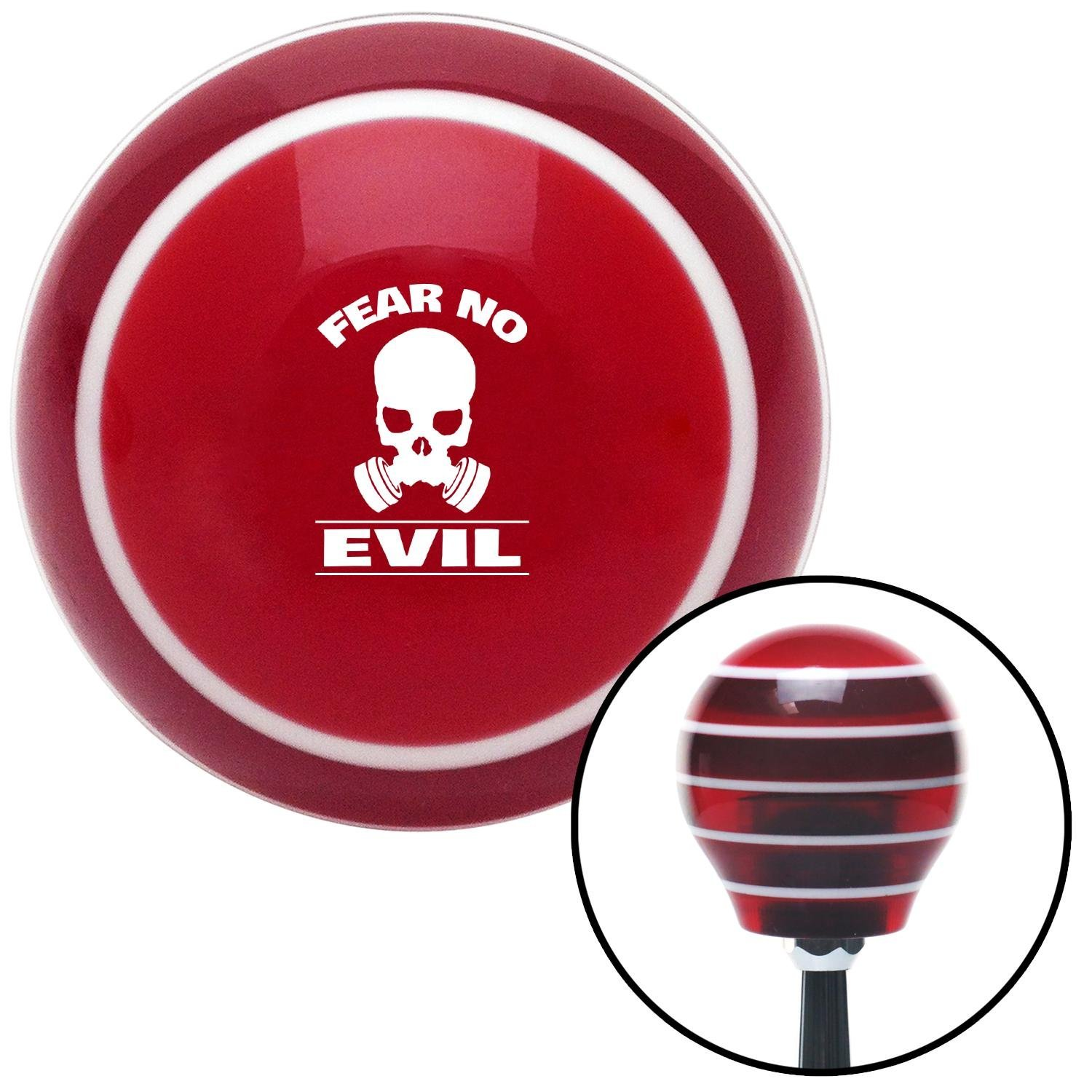 White Fear No Evil Red Stripe with M16 x 1.5 Insert American Shifter 274536 Shift Knob