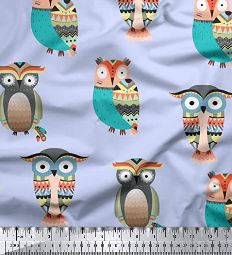 TIMELESS TREASURES SMALL OWLS AND LEAVES ON CREAM COTTON FABRIC BTY