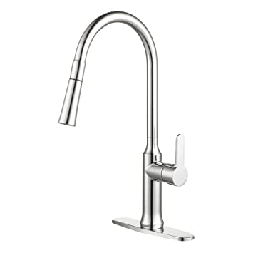 Enzo Rodi Modern High Arc Lead Free Brass Pull Down Kitchen Sink