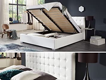 Bett Mit Bettkasten Weiß Weiss Polsterbett Lattenrost Doppelbett Jimmy 140  160 180x200cm (140 X 200
