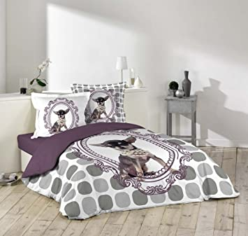 Housse couette 220x240 + 2 taies chihuahua