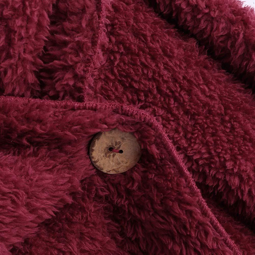 Femmes Hiver Confortable Fausse Fourrure Polaire Bouton Manteau Sherpa avec des Poches Dessus De Queue Moelleux Pull /à Capuche Lonshell