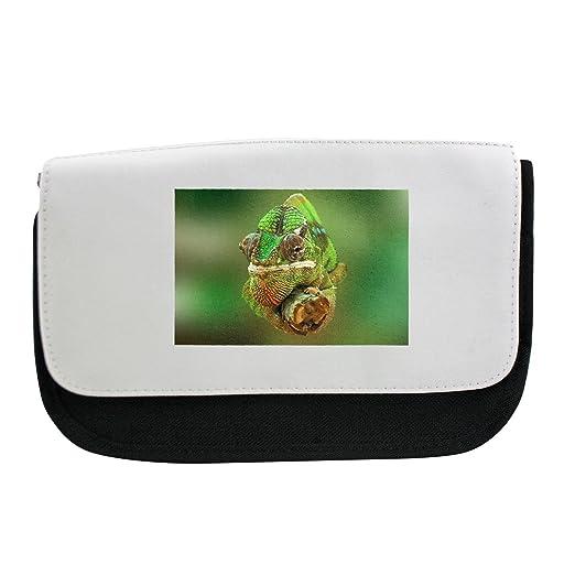 Camaleón, reptil, lagarto, verde estuche, maquillaje bolsa ...
