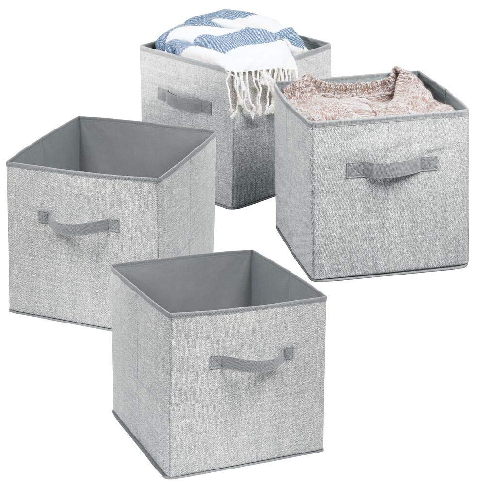 die ideale Spielzeugkiste mit Zwei Griffen Stoffkiste f/ür Kinderzimmer oder Schlafzimmer mDesign 4er-Set Aufbewahrungsbox Stoff grau