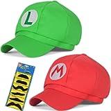 TISOSO Super Role Play Bros Hat Adult Kids Mario Luigi Unisex Cosplay Cap 2Pcs