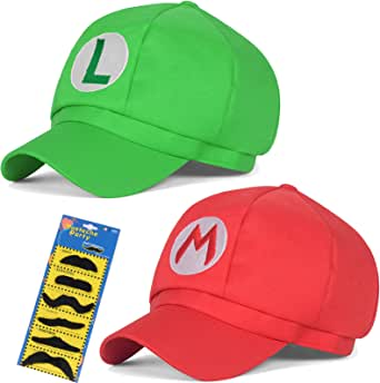 Super Mario Bros Hat Luigi Cap Cosplay Kids Adult Halloween Costume Baseball Anime Unisex Role Play Hat 2Pcs 22.83-23.62Inch(Red,Green