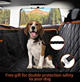 Dog Seat Cover Waterproof Hammock Convertible with MESH Visual Window, Extra Side Flaps & Storage Pockets | Best for Cars Trucks Suvs | Dimension 137 * 147 cm | Includes Dog Car Seat Belt