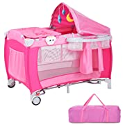 Costzon Baby Playard, Reversible Napper and Changer, Travel Infant Bassinet Bed with Music, Net (Pink)