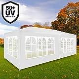 Deuba Festzelt Rimini 3x6m Weiß | 18m² Pavillon mit aufrollbaren 6 Seitenwänden | 18 Rundbogenfenster | Wasserabweisend | UV-Schutz 50 + | Farbauswahl