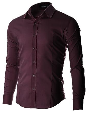 b5411a49a82 FLATSEVEN Men s Slim Fit Casual Button Down Dress Shirt Long Sleeve (SH600)  Purple
