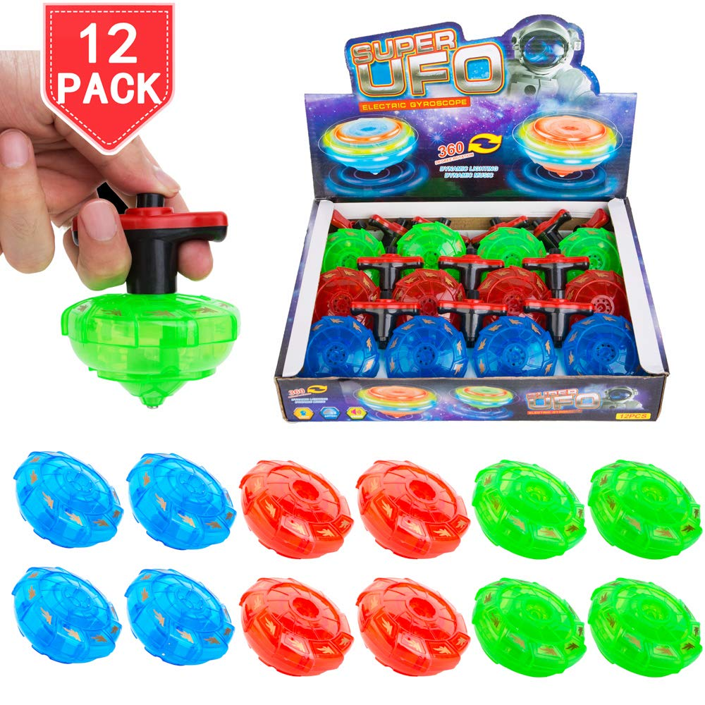 PROLOSO 12 Pack LED Spinning Tops Light Up Spinner Flashing UFO with Gyroscope