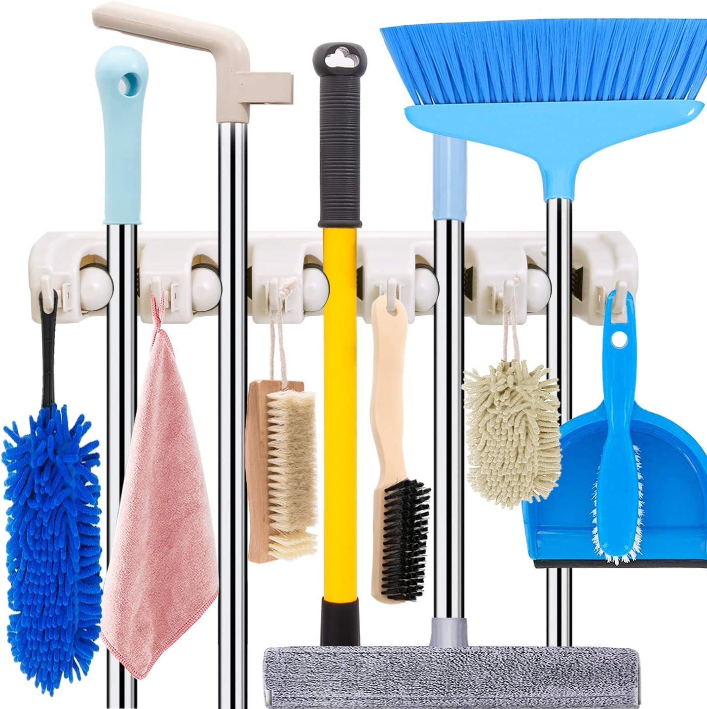 Mop and Broom Holder Wall Mount Heavy Duty Broom Holder Wall Mounted Broom Organizer Home Garden Garage Storage Rack 5 Position with 6 Hooks