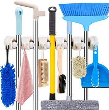 Broom Hanger Organizer Sweeping Brush Holder for Kitchen Garden Garage Bathroom(4pc) 3-H Mop Broom Holder Wall Mounted