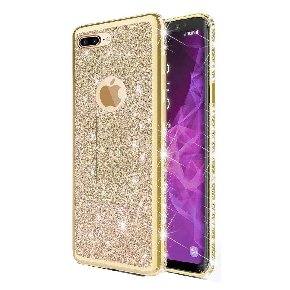 Homikon Silikon Hülle Kompatibel mit iPhone 7 Plus/8 Plus Überzug TPU Bling Glitzer Strass Diamant Schutzhülle Ultra Dünn Kratzfest Soft Flex Durchsichtig Silikon Handyhülle Tasche Case - Rot