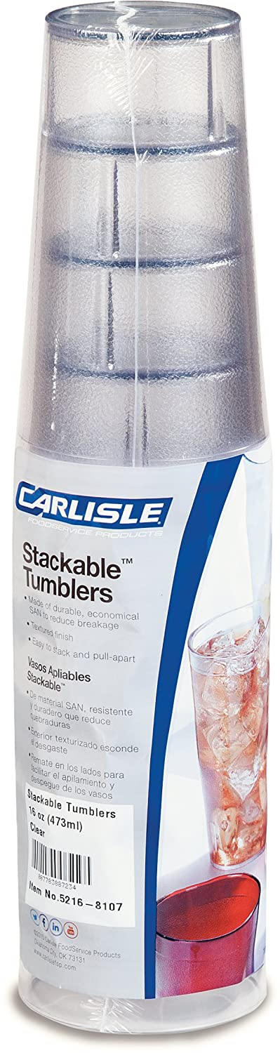 Carlisle 5216-8107 BPA Free Plastic Stackable Tumbler, 16 oz., Clear (Pack of 6)