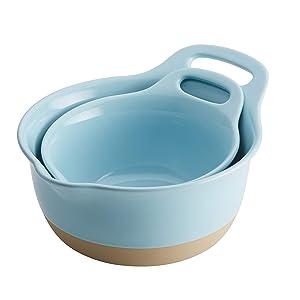 Rachael Ray 47524 2-Piece Stoneware Mixing Bowl Set, Light Blue