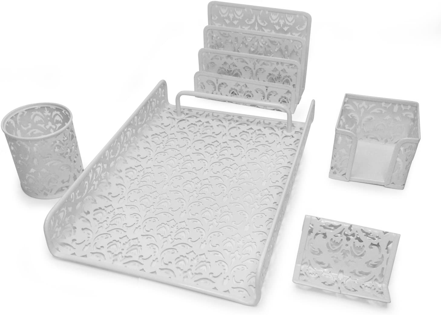 Majestic Goods 5 Piece Flower Design Punched Metal Mesh Office Desk Accessories Organizer - MG502-JM3622SLV Silver, Pack of 5