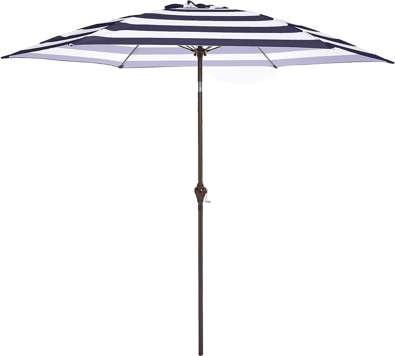 AmazonBasics Outdoor Patio Umbrella, 9 Foot, Striped Dark Blue and White