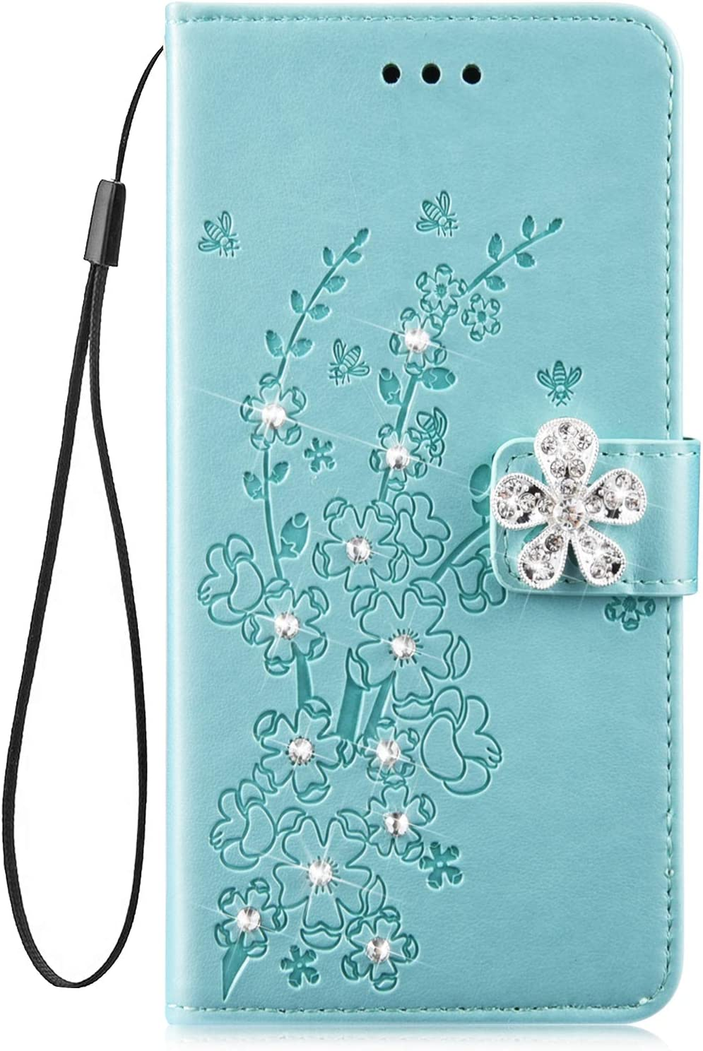 Herbests Compatible with Samsung Galaxy M30 Wallet Case Glitter Diamond Bling Rhinestone Leather Cover Flip Cases 3D Flower Butterfly Embossed Cute Slim Shockproof Phone Cover Stand,Rose Gold