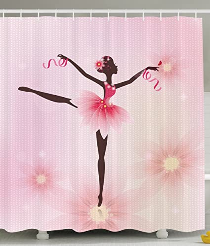 Shower Curtains Pink And Brown.Amazon Com Ballerina Ballet Dancer Trees Polka Dots Artistic