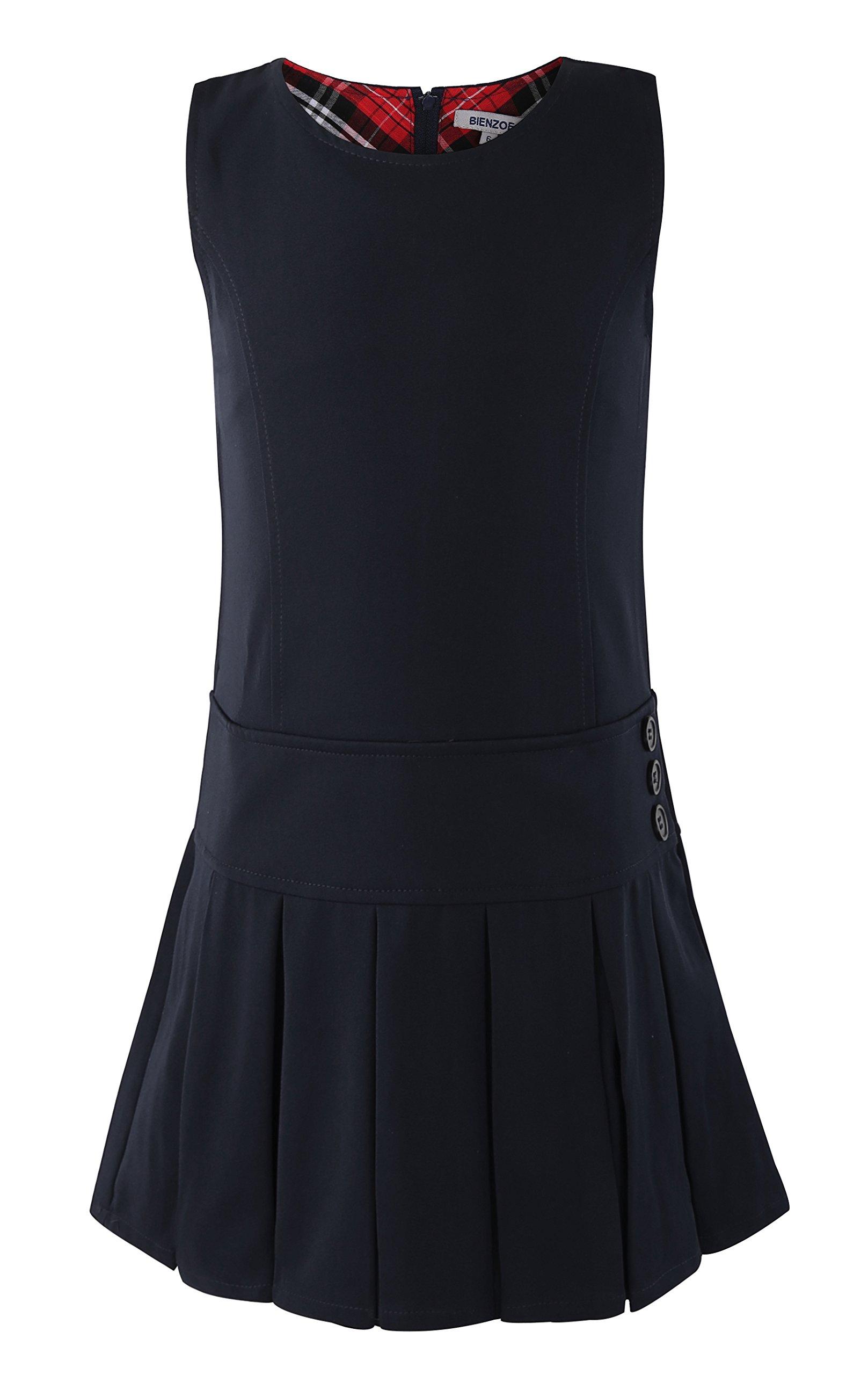 Bienzoe Girl's Stretchy Pleated Durable School Uniforms Jumper Black 6X