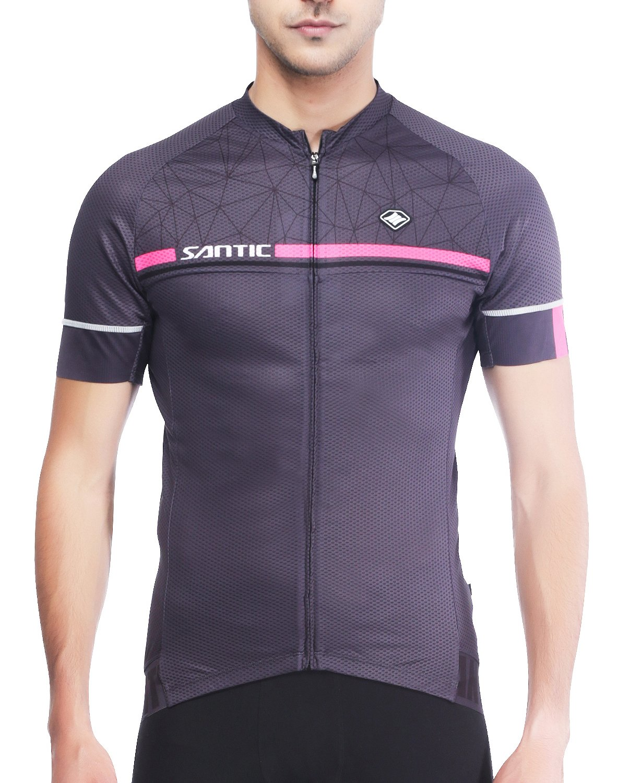 SANTIC Maillot Ciclismo Hombre, Maillot Bicicleta Hombre, Camiseta Ciclismo con Mangas Cortas Gris EU Talla XS