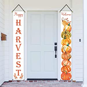 AVOIN Happy Harvest Pumpkin Porch Sign Welcome Quote Decoration, Fall Autumn Vintage Thanksgiving Hanging Banner Flag for Yard Indoor Outdoor Party 12 x 72 Inch