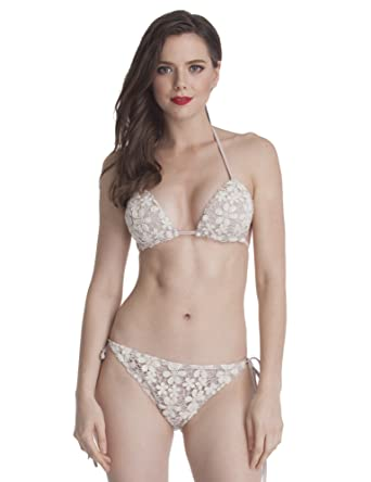 bcca808d9e5 Lookbook Store LookbookStore Women's Swimwear Halter Triangle Cups Crochet  Floral Bikini Set