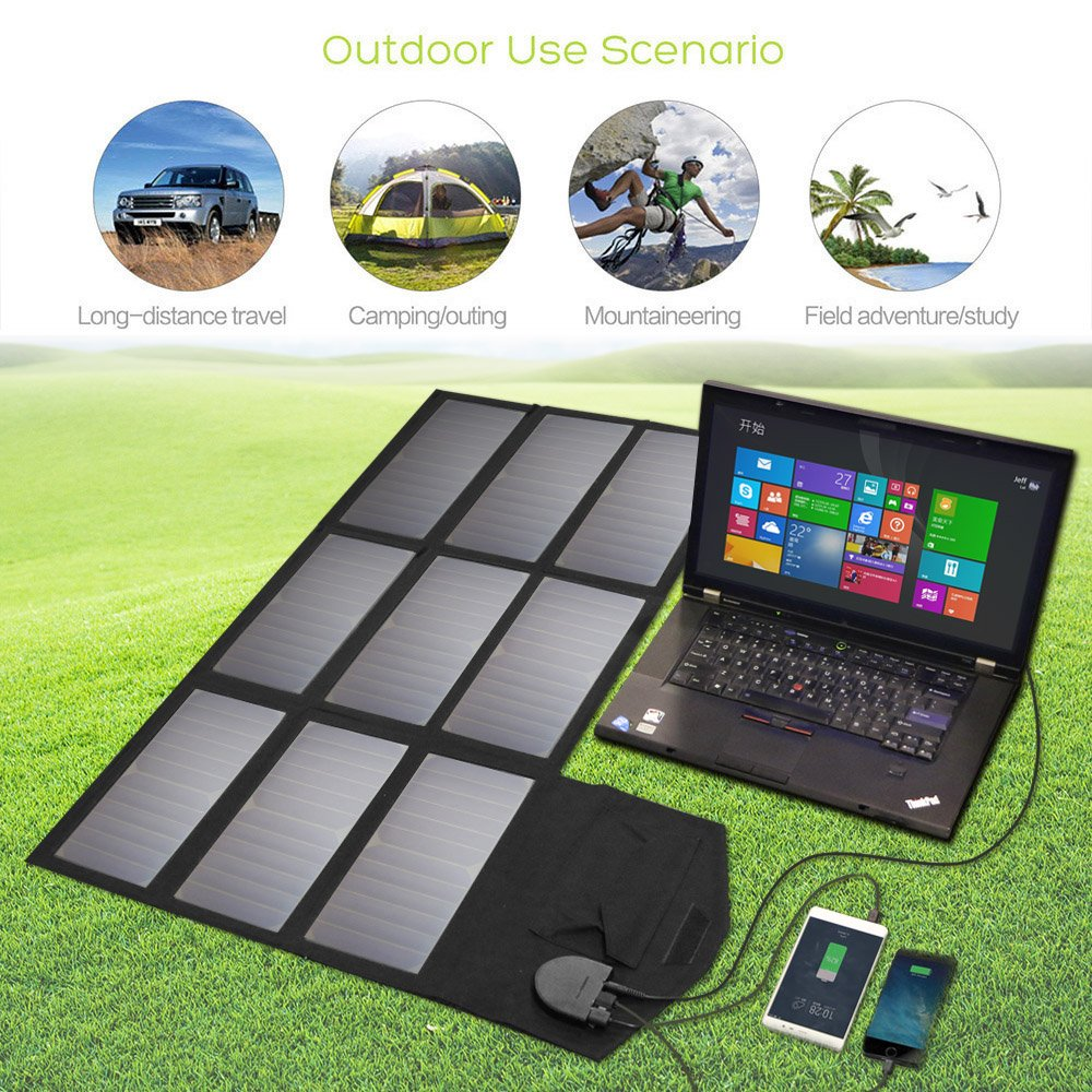 Solar Charger, ALLPOWERS 60W Foldable SunPower Solar Panel (Dual 5V USB with iSolar Technology+18V DC Output) for Laptop, ipad, Smartphone, iphone, Samsung, and 12V Car, Boat, RV Battery by ALLPOWERS (Image #6)