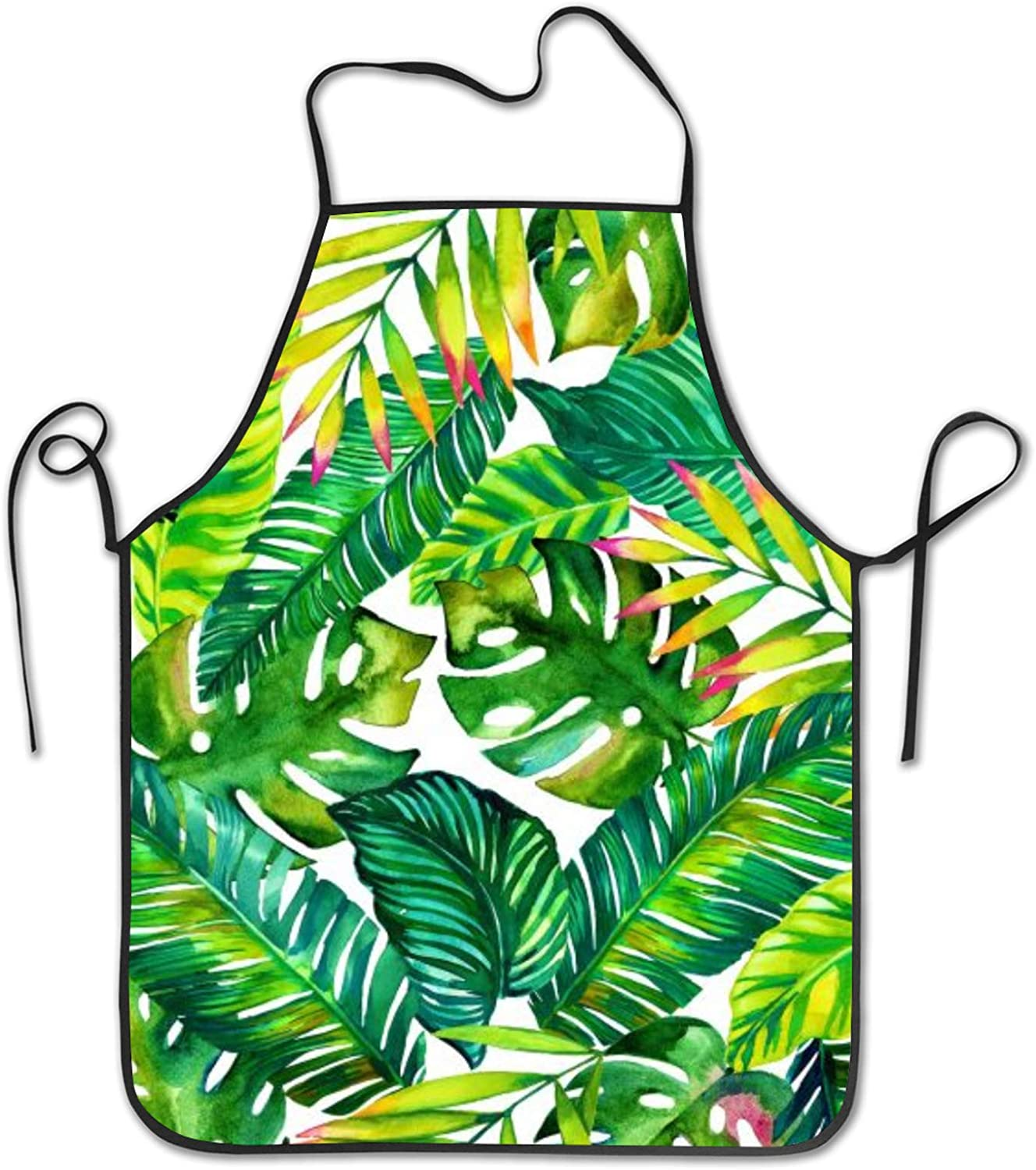 INTFULIHU Women's Banana Leaf Apron Kitchen Cooking and Apron for Cooking Grill Baking Hand Drawn Tropical Plants Apron