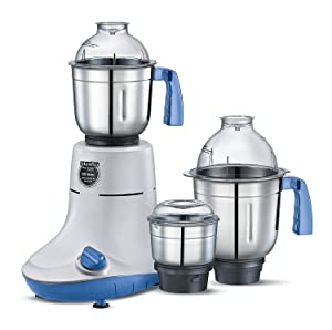 Prestige PMG05 110V Manttra New Powerful 600W Mixer Grinder Big 3 Stainless Steel Jars for Grinding and Juicing, White