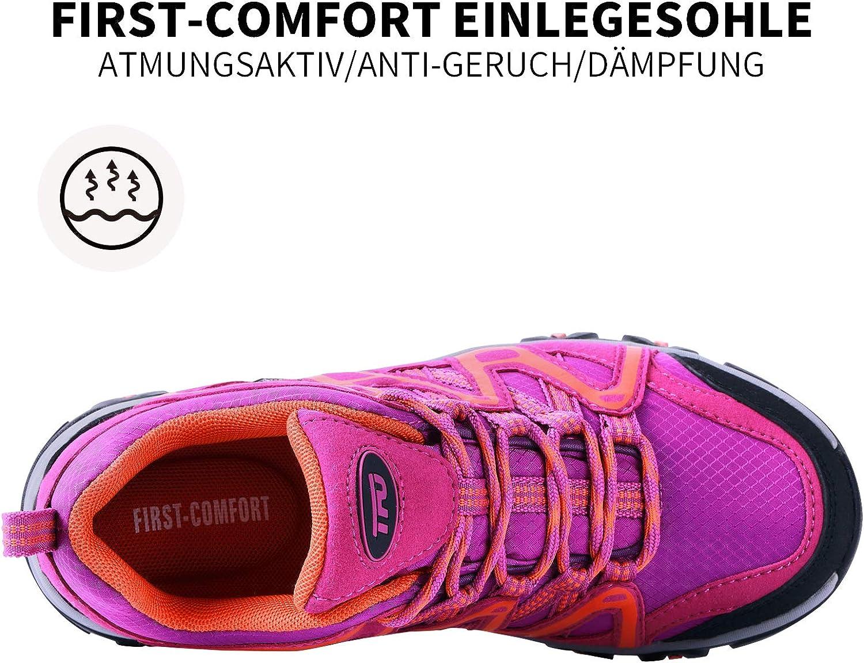 TFO Women Waterproof Walking Shoes Lightweight Hiking Shoes Lace-up Comfotable All Season Shoes for Outdoor Trekking /& Hiking