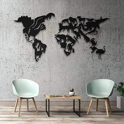 Amazoncom Decomood Wild Life Animal Themed Metal World Map Wall