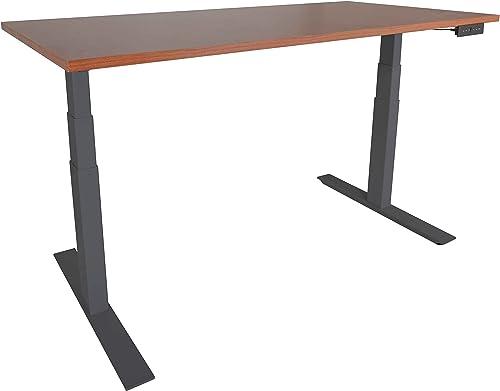 Titan A6 Adjustable Sit/Stand Desk 60″x30″ Cherry Wood Finish Black Frame