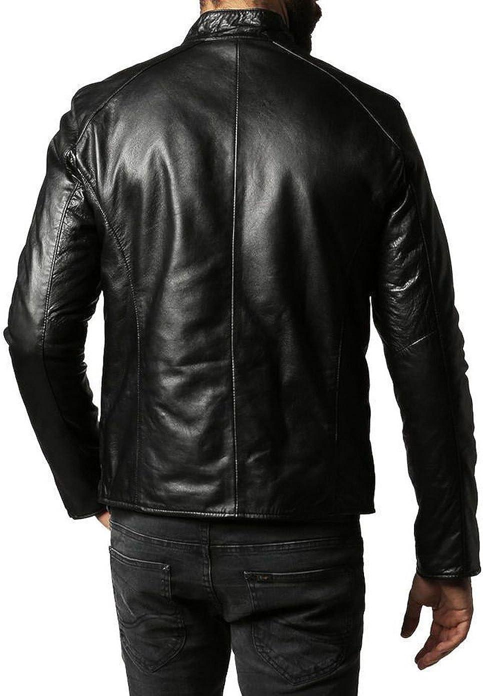 New Men Designer Genuine Lambskin Soft Biker Leather Jacket T1016