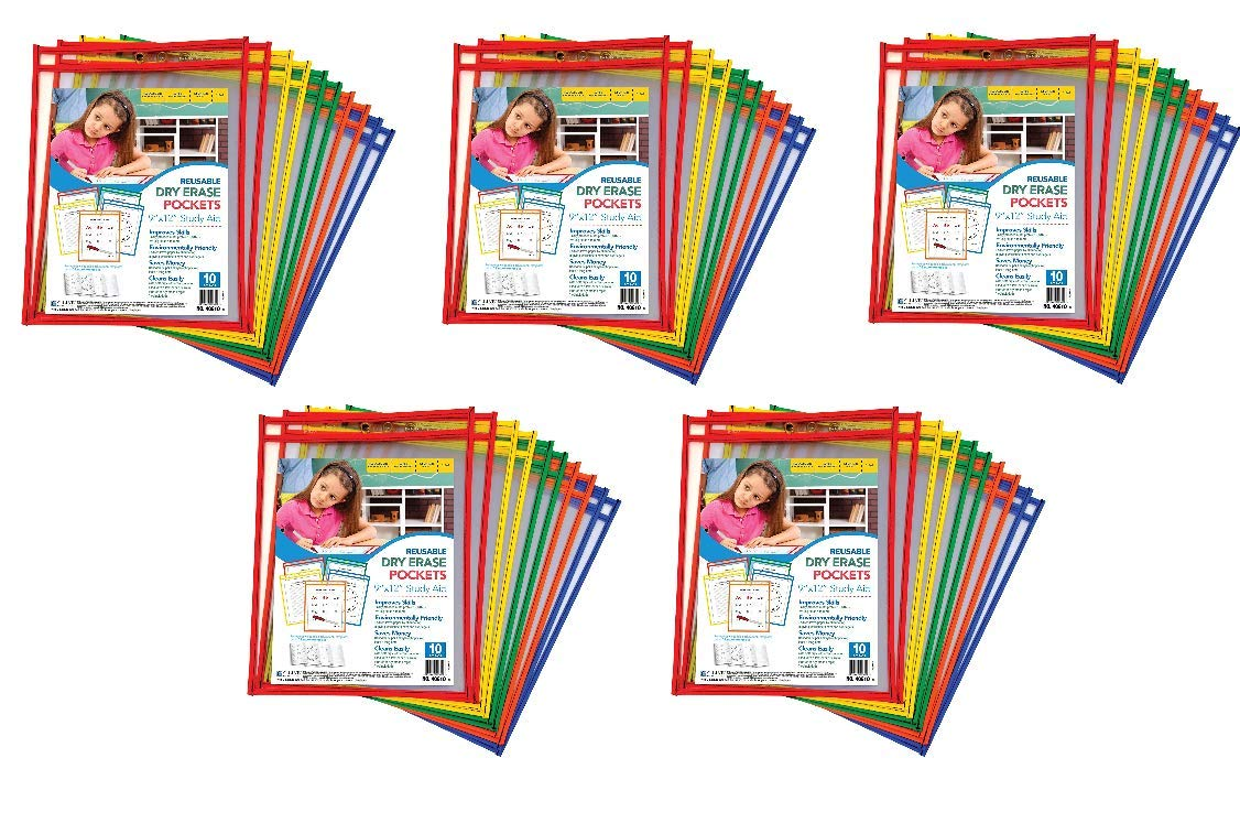 C-Line Reusable Dry Erase Pockets, 9 x 12 Inches, Assorted Primary Colors, 10 Pockets per Pack (40610) (5) by C-Line