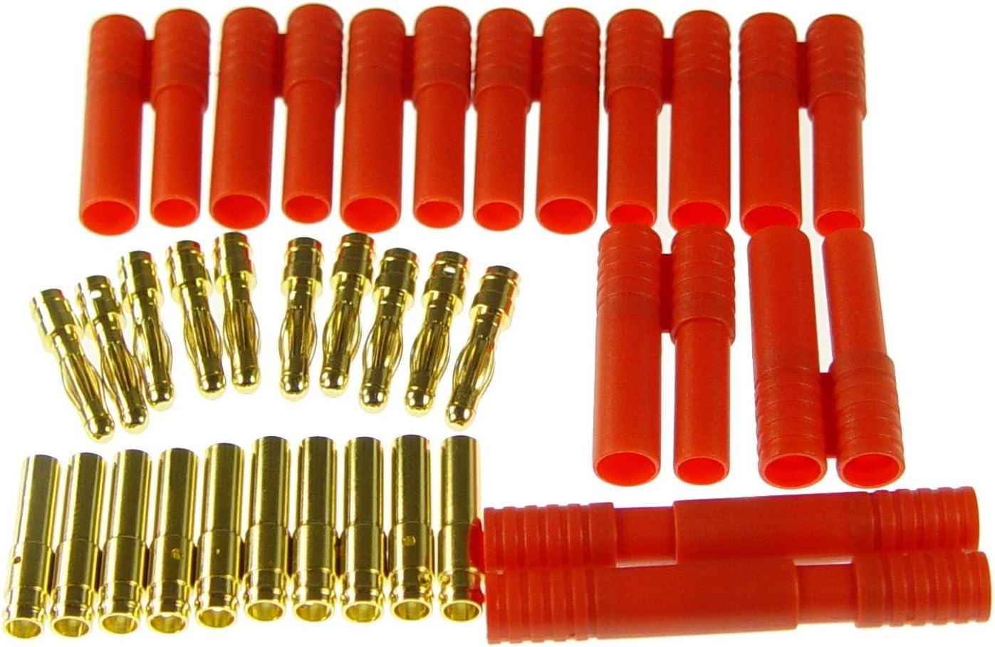 first-us Goldstecker Goldkontaktstecker Goldies 5Paar x 2mm mit Geh/äuse H/ülse bis 20A Steckverbindung Steckverbinder Adapterstecker Stecksystem RC Modellbau Standmodellbau Teile Zubeh/ör Neu