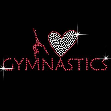 I Heart Gymnastics Diamante Transfer Iron On Hotfix Gem Crystal T-Shirt  Motif 651558a20228